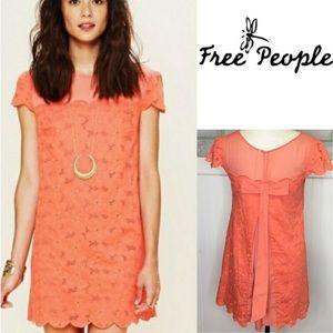 Free people coral eyelet mini shift Dress